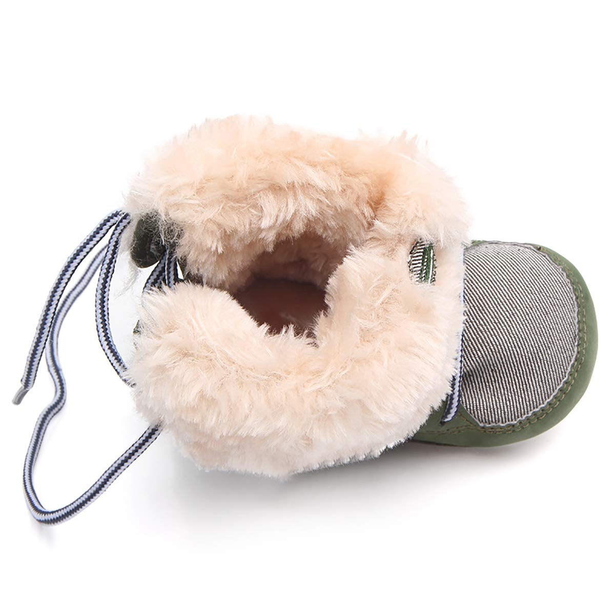,Blue,13cm 0-2 Years Old First Walker Winter Childrens Boots Soft Bottom Shoes Newborn Baby Toddler Lacing Plush Shoes