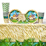 Safari Adventure Party Supplies Pack for 16 Guests: Straws, Dessert Plates, Beverage Napkins, Cups, and Table Cover