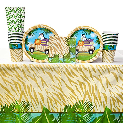 - Safari Adventure Party Supplies Pack for 16 Guests: Straws, Dessert Plates, Beverage Napkins, Cups, and Table Cover