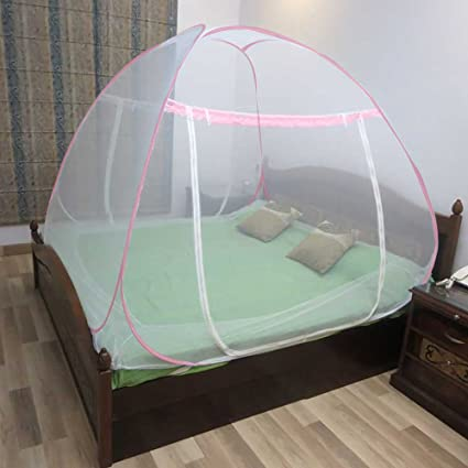 Healthgenie Premium Foldable Mosquito Net for Double Bed (King Size) - Pink with Repair kit