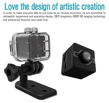 Tianu SQ12 - Mini cámara de visión nocturna HD 1080P con lente DVR deportiva y videocámara