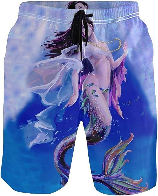 CENHOME Mens Swim Trunks Blue White Paisley Pattern Beach Board Shorts