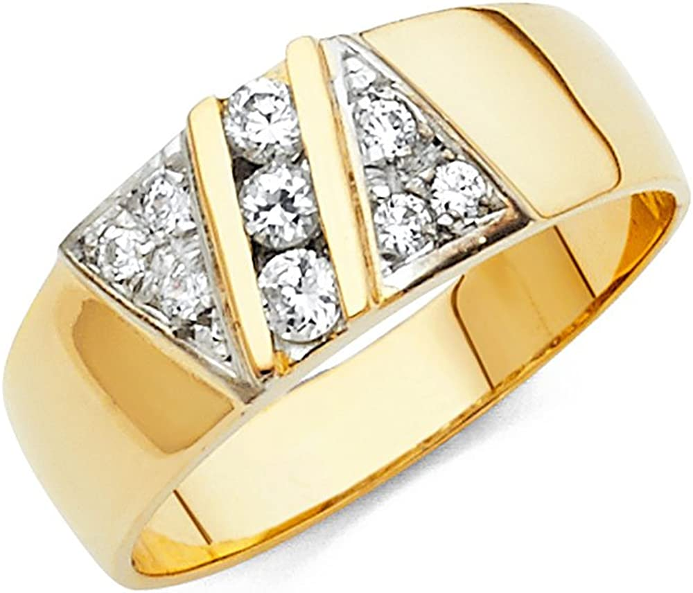 TWJC 14k Yellow Gold SOLID Mens Wedding Band