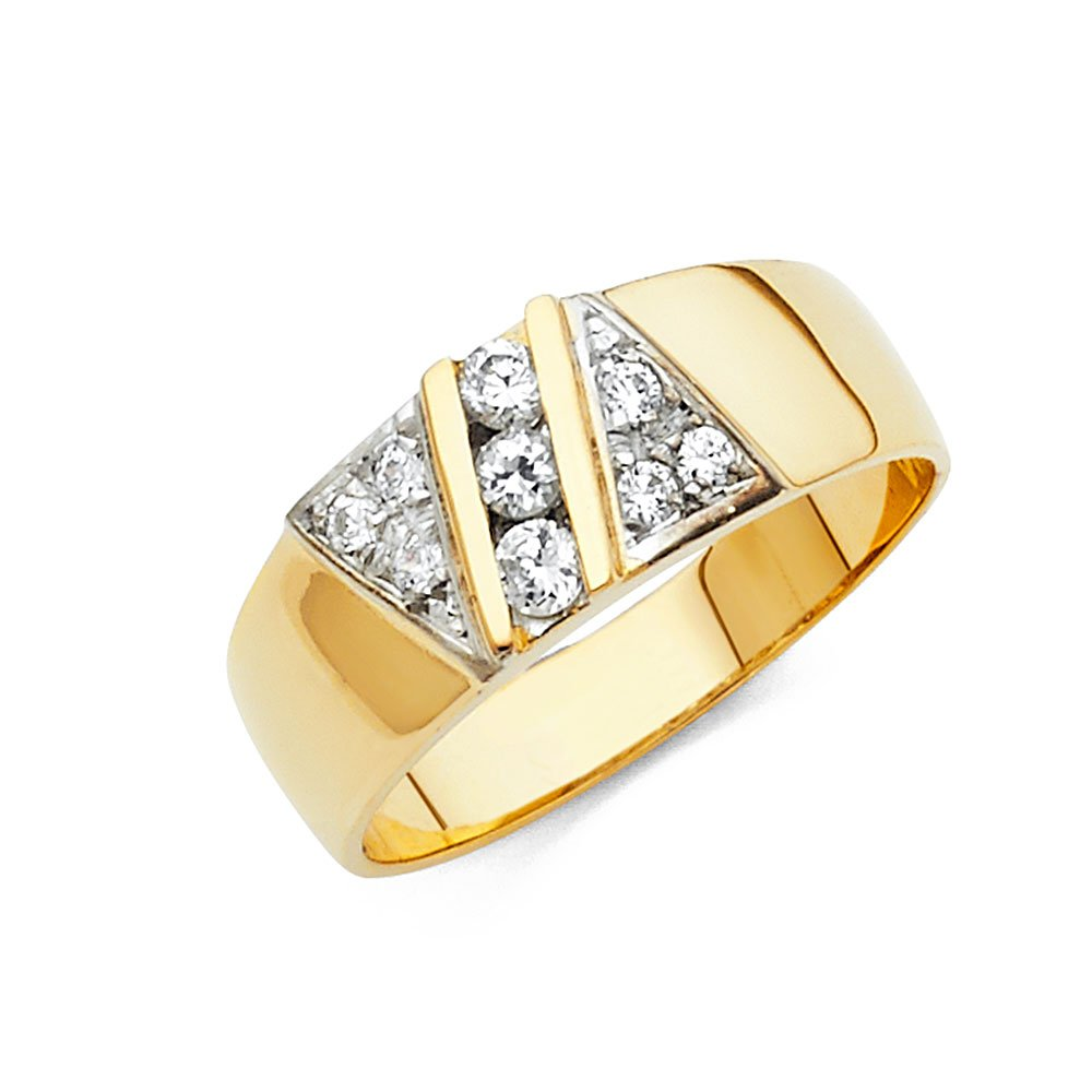 Wellingsale Men's Solid 14k Yellow Gold Polished CZ Cubic Zirconia Wedding Band - Size 11 by Wellingsale®