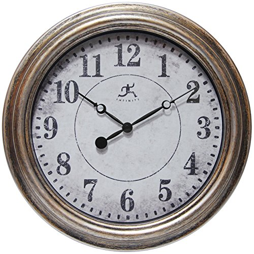 Gold Silver Clock (Infinity Instruments Aged Silver and Gold Clock, Silver)