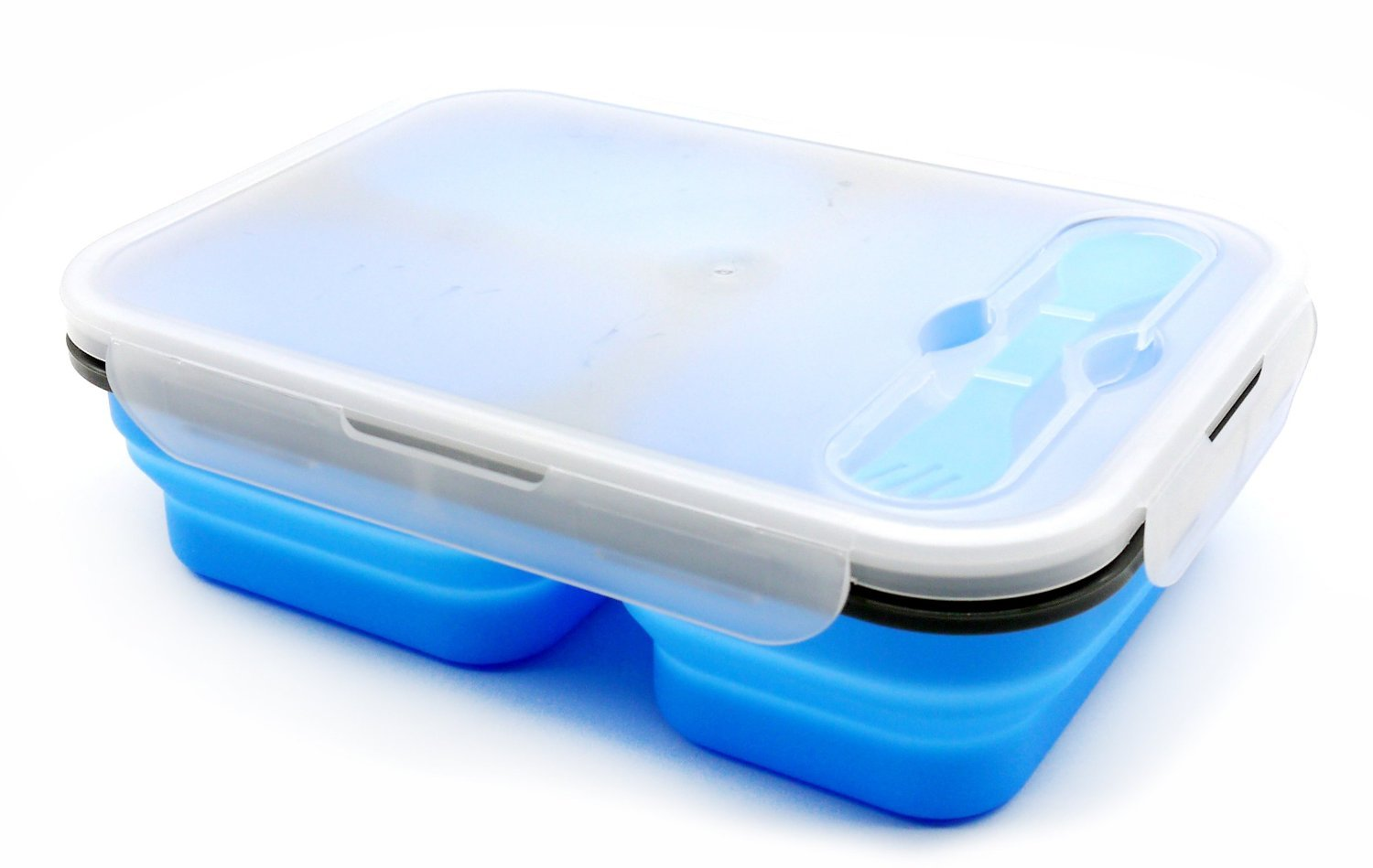 AFancy Bento Box Lunch Box Collapsible BPA-Free Lunch Bento Box with 3 Compartments and Cutlery Food Container - Blue
