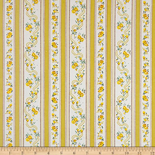 Santee Print Works Dolphin Floral Stripe Fabric by the Yard, Yellow ()