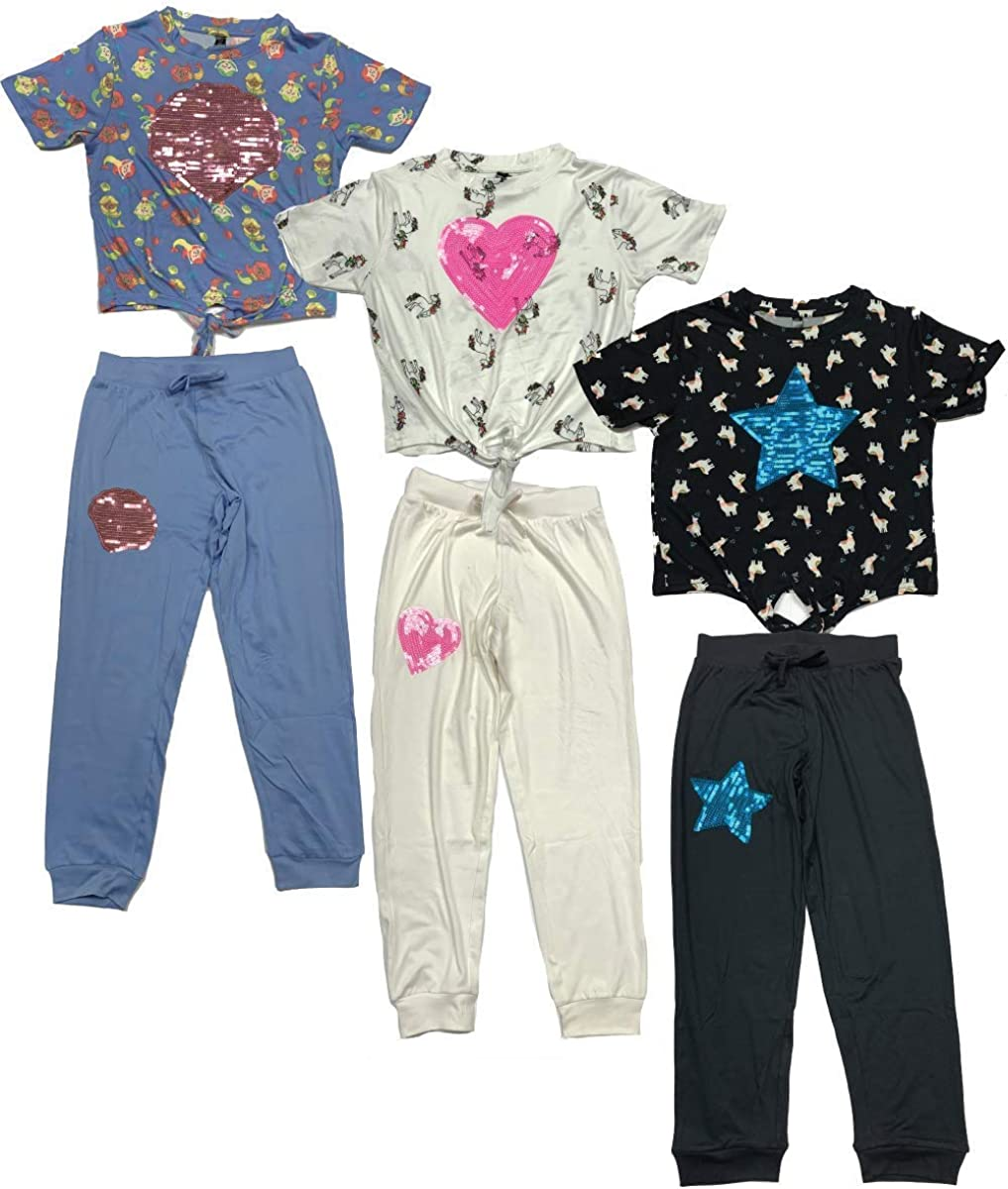 MISS POPULAR 6-Piece Set Girls Kids Sequins Applique Short Sleeve Tie Front T-Shirt with Jogger Pants Size 7-16: Clothing