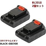 2個セット!ブラックアンドデッカー18V 2.0Ah Li-ionバッテリー BL2018 BL1518 BL1518N 電動工具用【POWERGIANT】