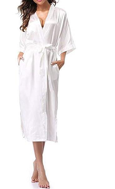 Reveryml Mujer Ropa de Dormir Mujeres Seda Satén Boda Larga Novia Dama de Honor Bata Kimono Bata Feminina Bata de baño de Gran tamaño: Amazon.es: Ropa y ...