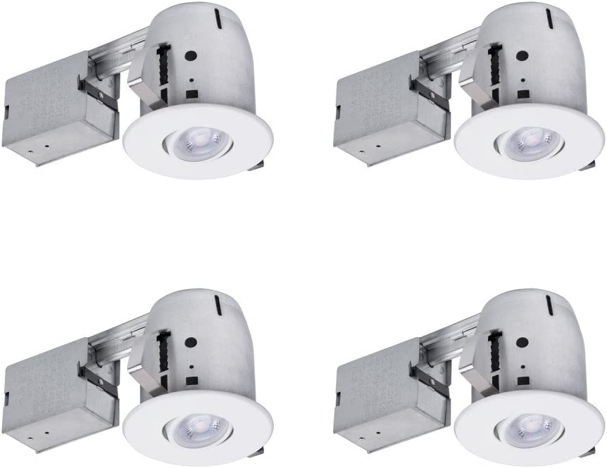 Globe Electric 90733 Recessed Lighting, 4 Pack, White Round Swivel