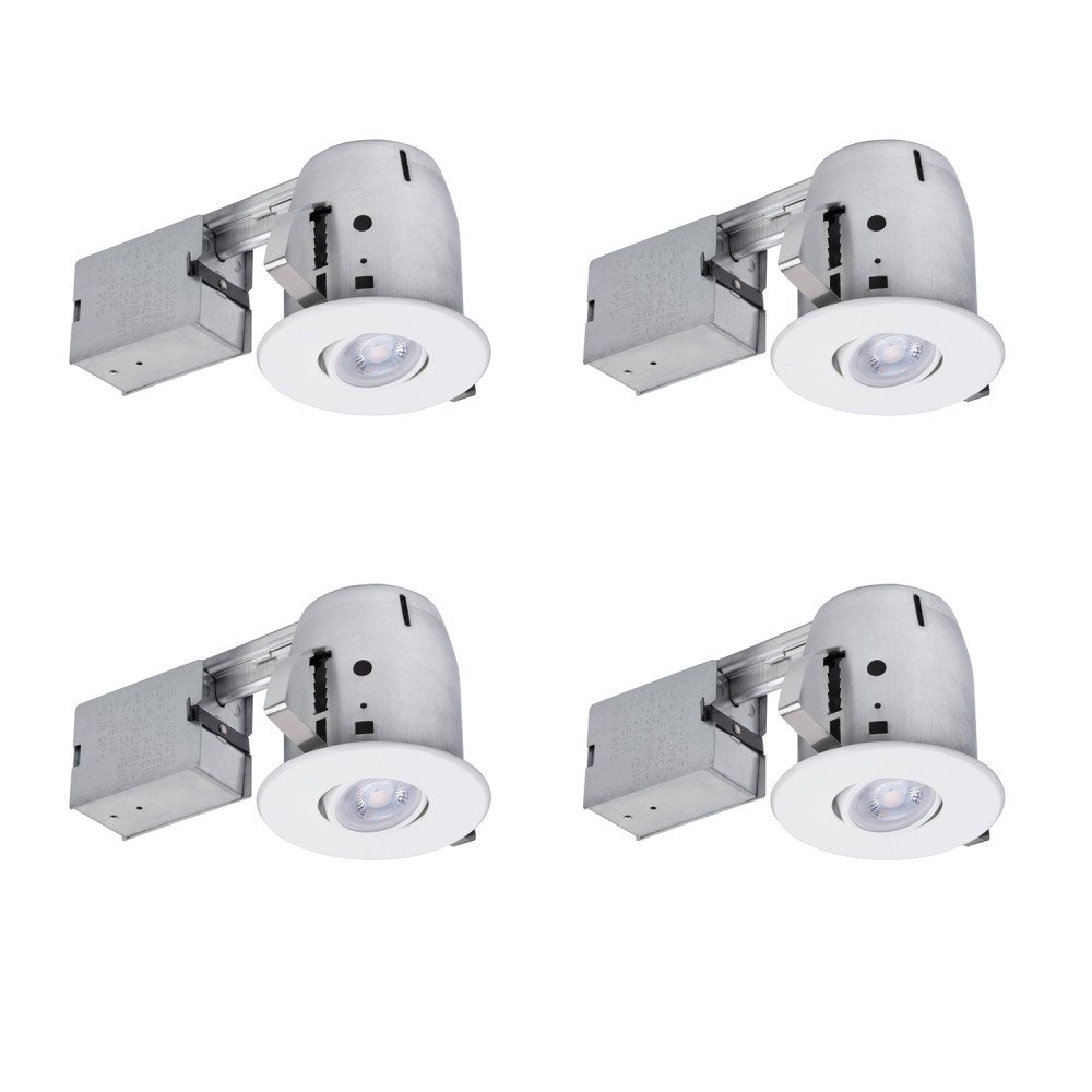 Globe Electric 4'' LED IC Rated Swivel Spotlight Recessed Lighting Kit Dimmable Downlight, 4-Pack, Round Trim, White Finish, Easy Install Push-N-Click Clips, 4 LED Bulbs Included, 90733
