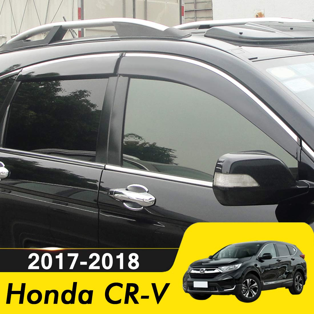 biosp Compatible for 2017 Honda CR-V Visor Rain Sun Deflectors Car CRV Window Ventvisor Shade Wind Deflector