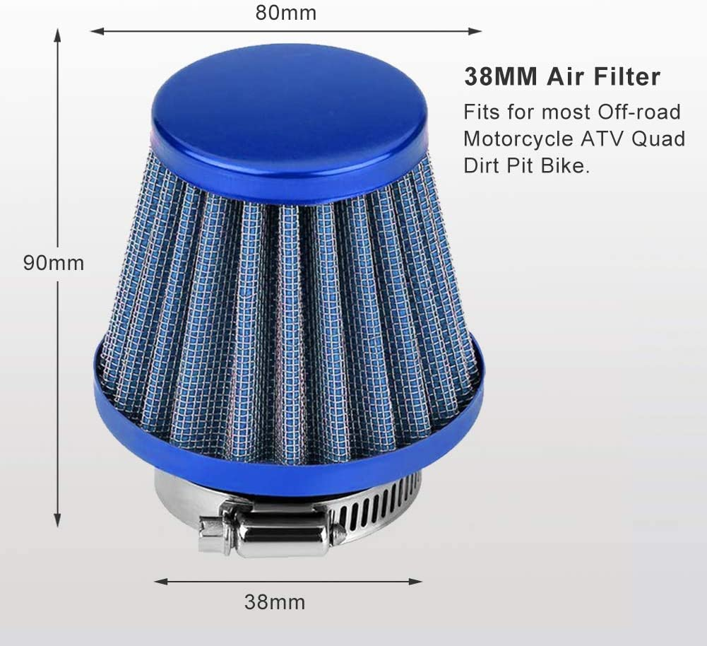 38mm Universal Motorcycle Clamp-On Air Intake Filter Kit Gold Auto Cold Air Intake Scooter Atv Dirt Pit Bike Motorcycle Air Filter