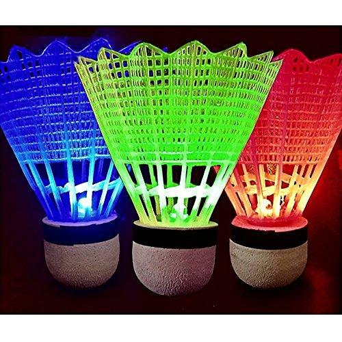 Buweiser 4 PCS LED Badminton Light UP Shuttlecock Plastic Glow Birdies for Night Sport