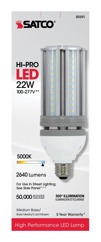 (6-Pack) Satco S9391 - 22W/LED/HID/5000K/100-277V 22W 5000K E26 Base 100W HID Replacement LED Light Bulb by Satco (Image #2)