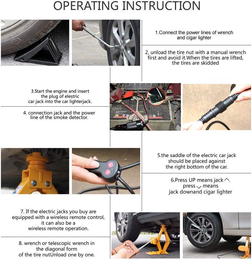 Cric elettrico con chiave per dadi 12/cm-45/cm per auto con telecomando senza fili portata 2 t.