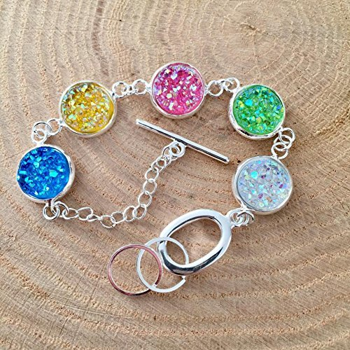 Faux Druzy Silver Tone Bracelet - blue, yellow, pink, green, and clear stones (2)