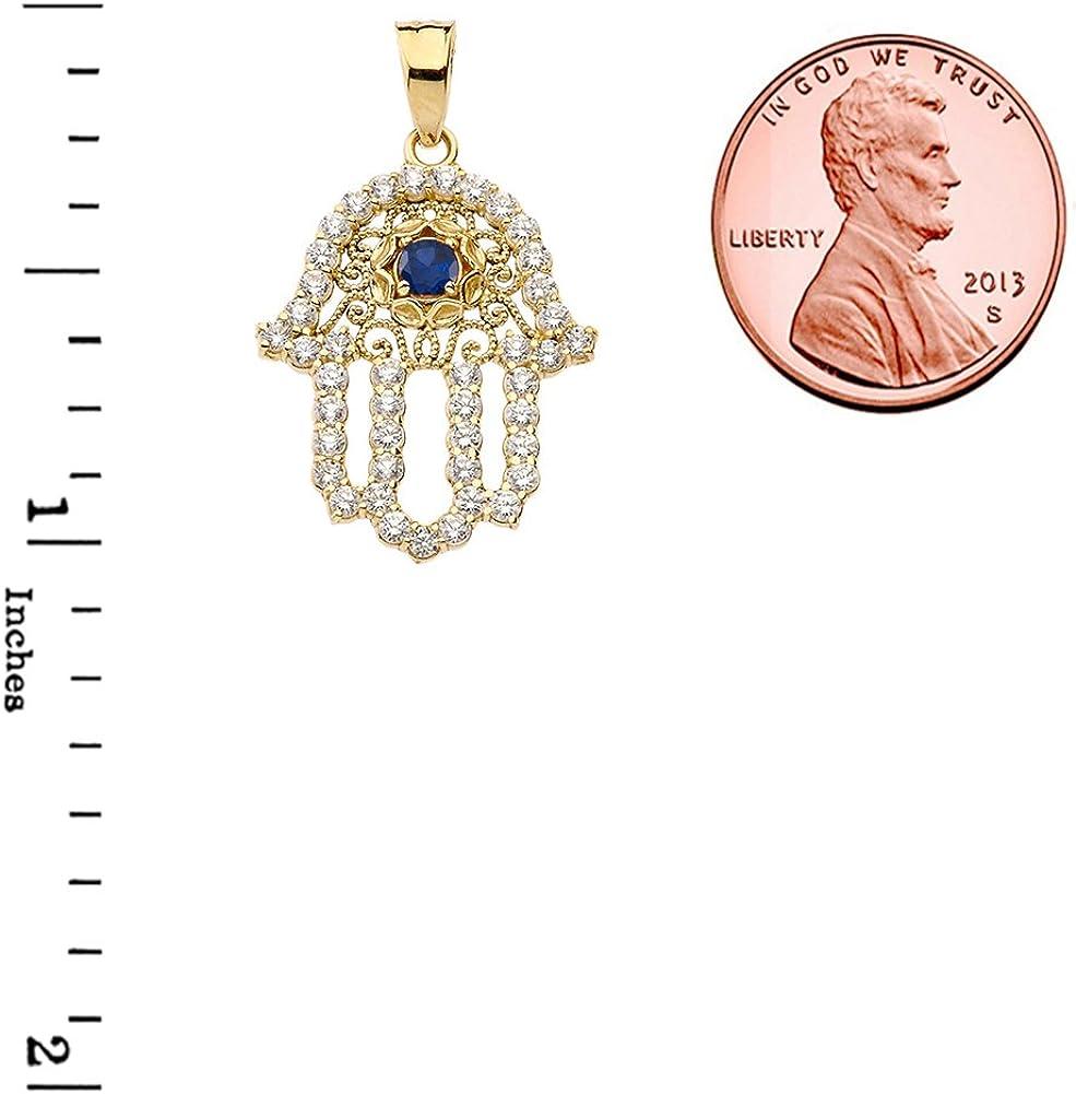 Elegant 14k Yellow Gold CZ with September Birthstone Center Stone Chic Hamsa Pendant Necklace