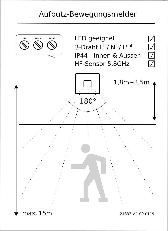 LED geeignet Aufbau-Montage Hochfrequenz Radar HF 5,8GHz Bewegungsmelder IP44 180/° 1W-1200W 230V f/ür Feuchtraum und Aussenbereich