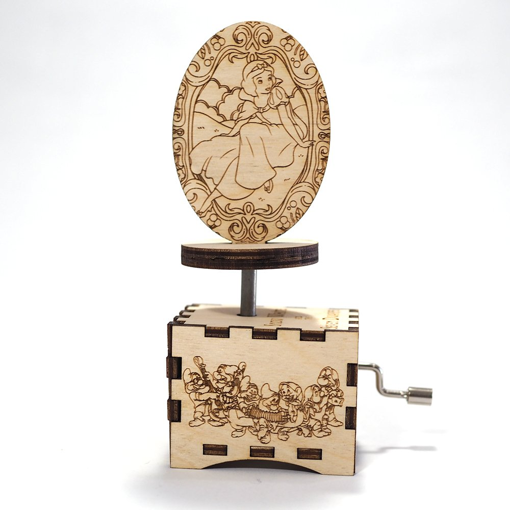 Snow White Music Box - Some Day My Prince Will Come - Laser cut and laser engraved wood music box. Perfect gift, memorabilia or collectible