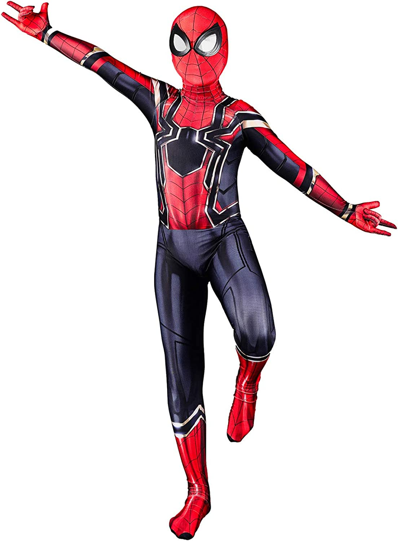 Ddhiyiy Toddler Kids Spider Verse Miles Morales Bodysuit Kids and Adult Black Spider Tights Zentai Costume
