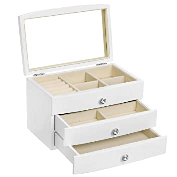 Amazon.com: Caja de joyería de madera, organizador de ...