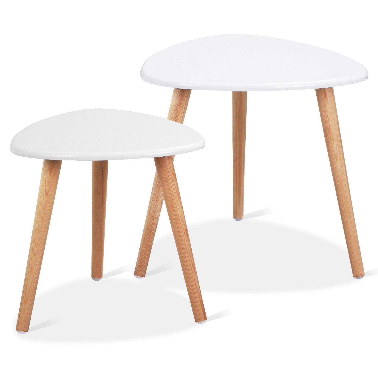 Heaven Tvcz Set of 2 White Wood Nesting Accent Foot Tables Contemporary Sofa Area Coffee Tea End Table Living Room