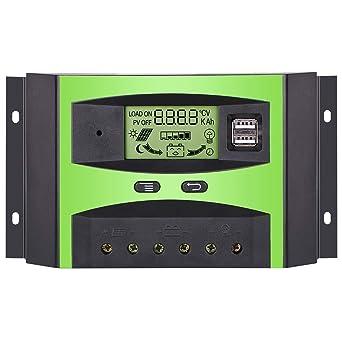 GIARIDE 30A 24V 12V LCD USB Contrôleur Charge Solaire PWM Régulateur de  Batterie de Panneau Solaire 317c31dc1173