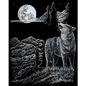 Royal & Langnickel - Lámina para grabado (20,3 x 25,4 cm), diseño de lobo y luna llena, color plateado