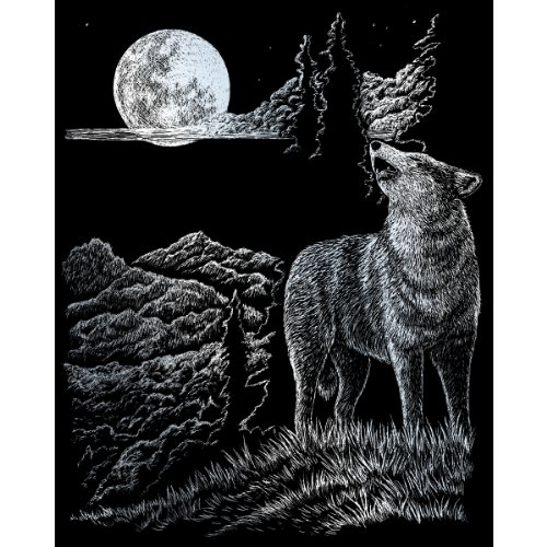 - ROYAL BRUSH Silver Foil Engraving Art Kit, 8 10-Inch, Wolf Moon