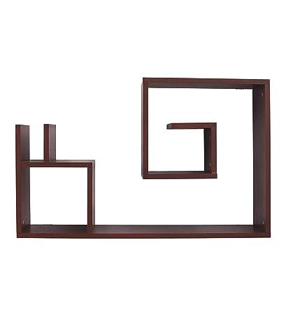 484eaa4a4b5c Gorevizon Walnut Engineered Wood Modern Wall Shelf Brown  Amazon.in  Home    Kitchen