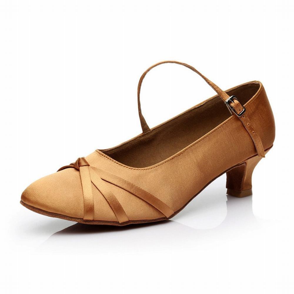 OneCouleur BYLE Sangle de Cheville Sandales en Cuir Chaussures de Danse Modern'Jazz Samba Président Lumière Douce Adultes à Haut Talon en Cuir Chaussures de Danse Latine Danse Sociale Marron DE 5 cm 37 EU