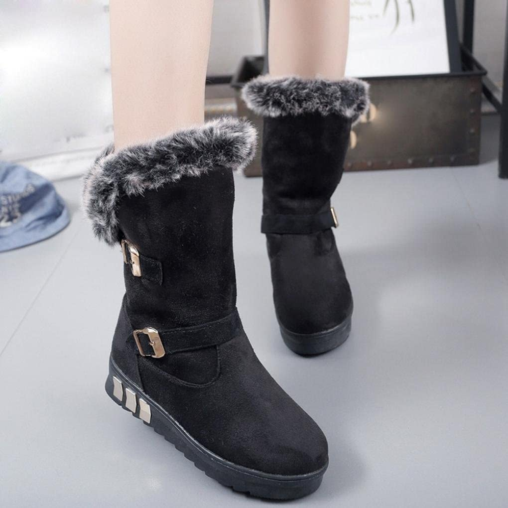 Creazy Women Boots Slip-On Soft Snow Boots Round Toe Flat Winter Fur Ankle Boots