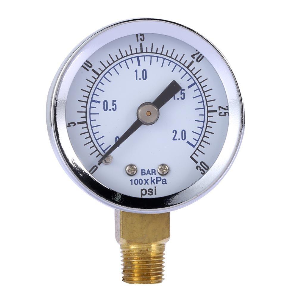 Vanpower Pressure Gauge, 1/8 NPT Air Compressor/Hydraulic Pressure Gauge 0-30 PSI Side Mount 1.5' Face 1/8 NPT Air Compressor/Hydraulic Pressure Gauge 0-30 PSI Side Mount 1.5 Face