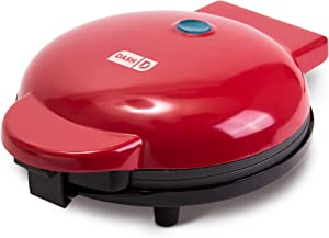 "Dash DMG8100RD 8"" Express Electric Round Griddle for Pancakes, Cookies, Burgers, Quesadillas, Eggs & other on the go Breakfast, Lunch & Snacks, with Indicator Light + Included Recipe Book, Red"
