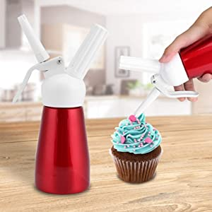 Whipped Cream Dispenser, 250mL Portable Red Aluminum Whipped Dessert Cream Butter Dispenser Whipper Foam Maker for Delicious Homemade Whipped Creams, Sauces, Desserts, and Infused Liquors