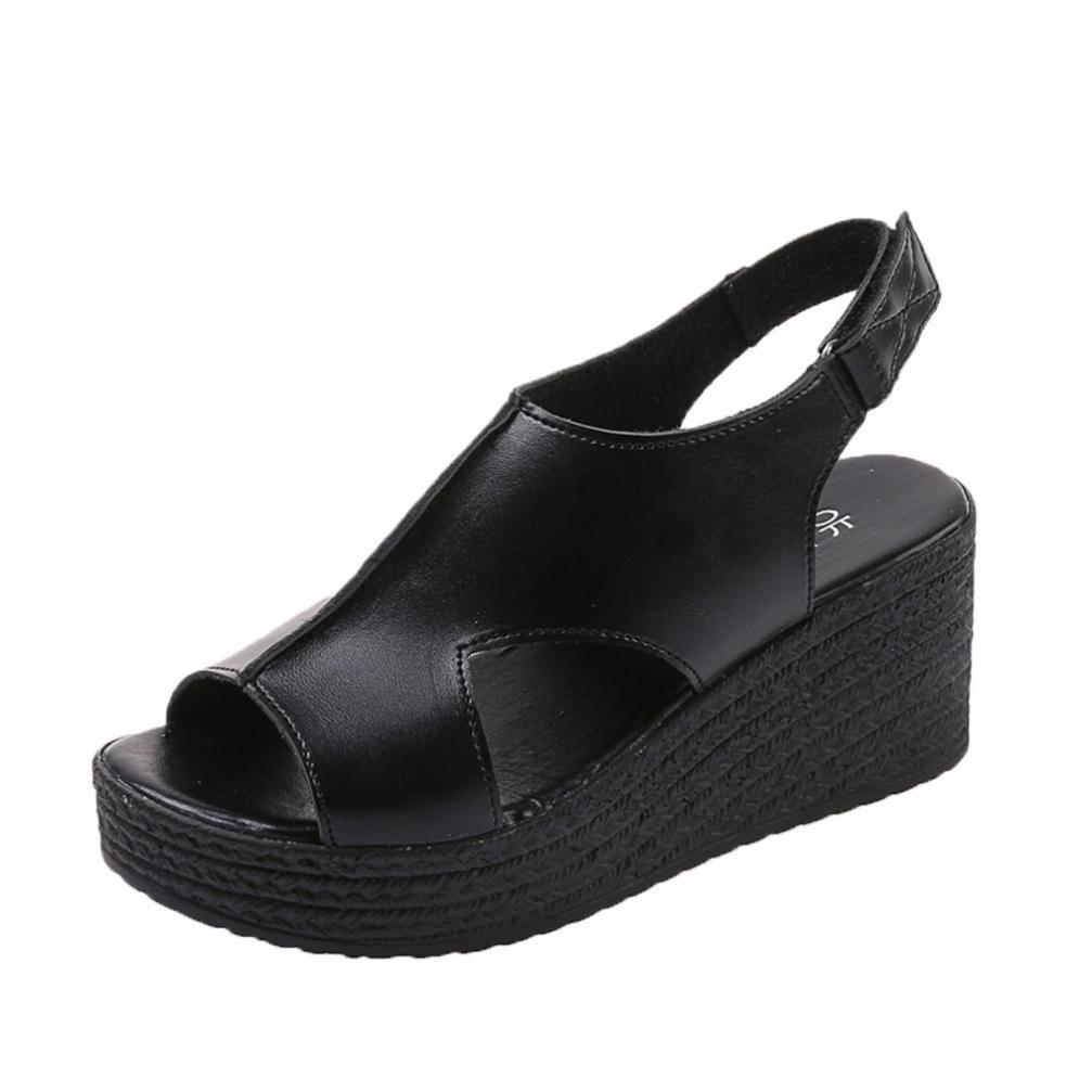 ❤️ Sandalias mujer, Manadlian Mujer Sandalias de punta abierta Moda Fondo grueso Porciones Cuesta abajo Zapatos con hebilla de correa (CN:39, Negro) Manadlian_Sandalias mujer