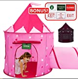 Play Kreative Glow In The Dark Pink Princess Castle Tent with Crawling Tunnel and Carry Case. Foldable pop up pink Castle Playhouse with Red Hearts for indoor outdoor Children fun activities.