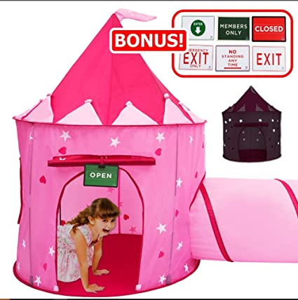 f728c2cb8e70 Play Kreative Glow in The Dark Pink Princess Castle Tent with Crawling  Tunnel and Carry Case