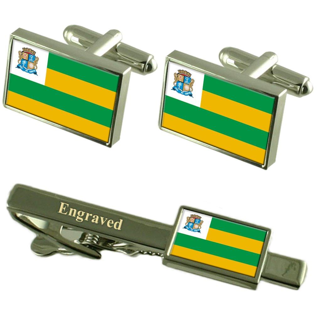 Aracaju City Brazil Flag Cufflinks Engraved Tie Clip Set