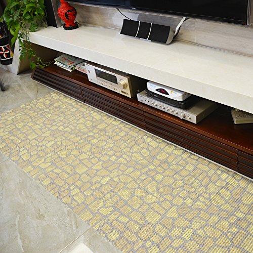 ART TO REAL PVC Foam Floor Mats - Shower Mat, Kitchen Runner Rugs, Baby Crawling Mat, Pet Litter Mat - Perfect Modern Home Decor (2' 3.3', Yellow Stone)