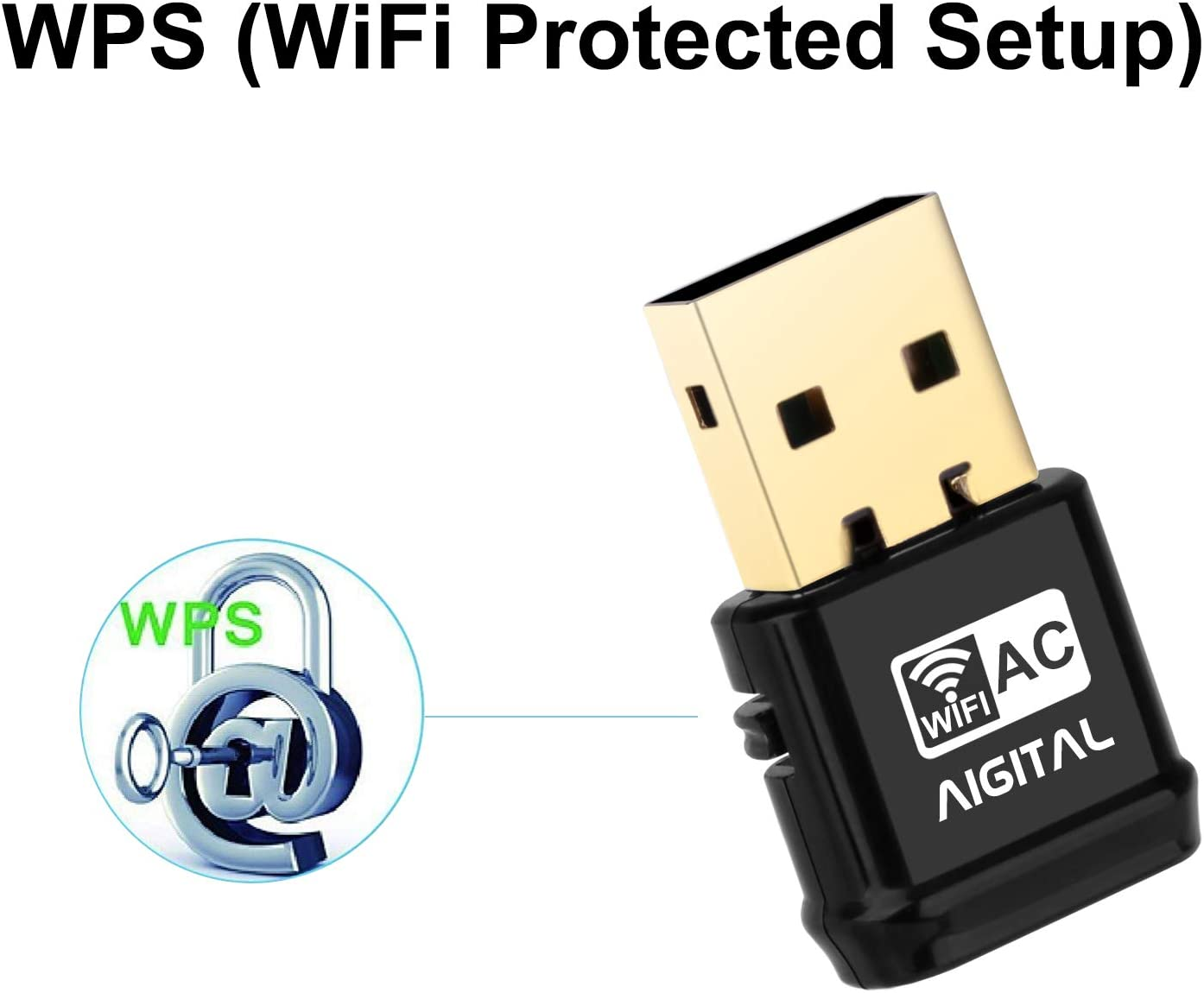 Easy Installation,Support Win XP//Vista//7//8//10,Mac OS X USB WiFi Adapter 600Mbps Aigital USB WiFi Dongle Wireless Network Adapter with Dual Band for Desktop,Mini Size
