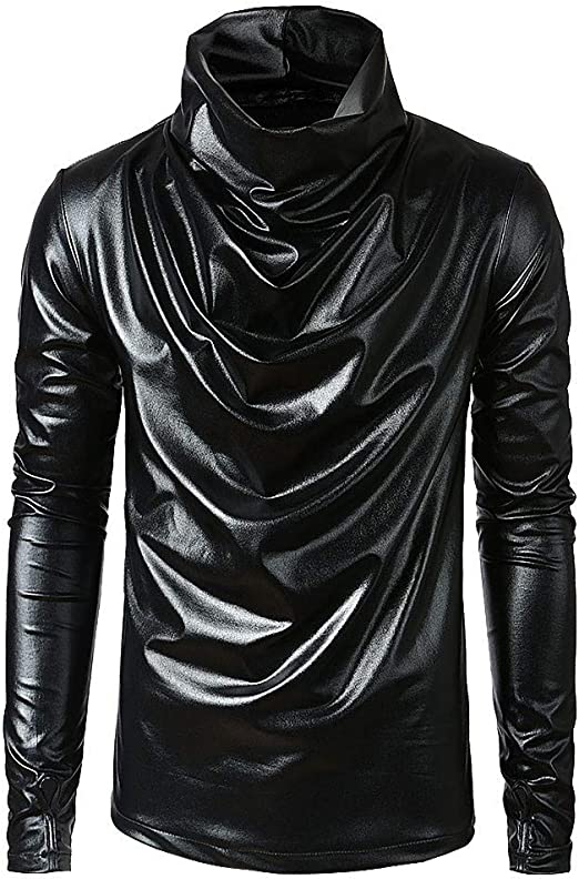 Men Faux Leather T Shirt Plush Lined Long Sleeve Turtleneck Slim Tops Pullovers