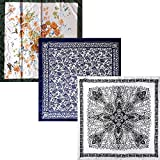 BMC 3 pc Mixed Design Large Size Lightweight Square Shape Fashion Scarves - Set 6: Flower Fanatic