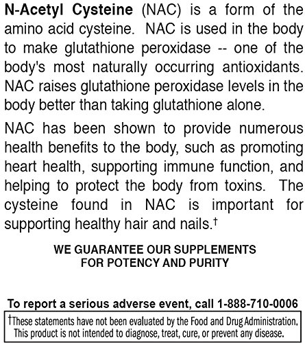 Natural Nutra Premium N Acetyl Cysteine (NAC) Amino Acids Supplement, Increase Antioxidant and Glutathione Levels, Recyclable Glass Bottle, 600 mg nac, 60 Capsules