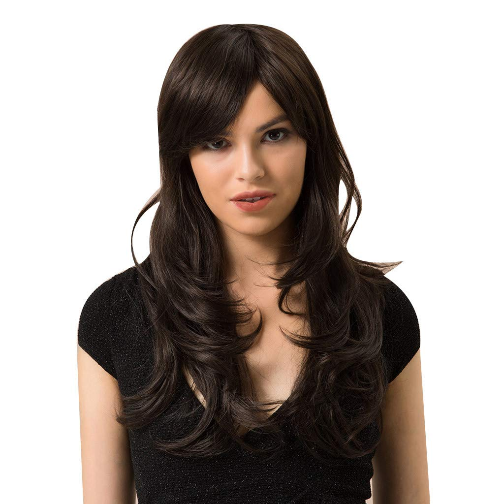 Human Hair Long Wavy Black Wigs for Women Curly Heat Resistant Hair Wig for Girls Synthetic No Bangs Middle Part Wig (a)