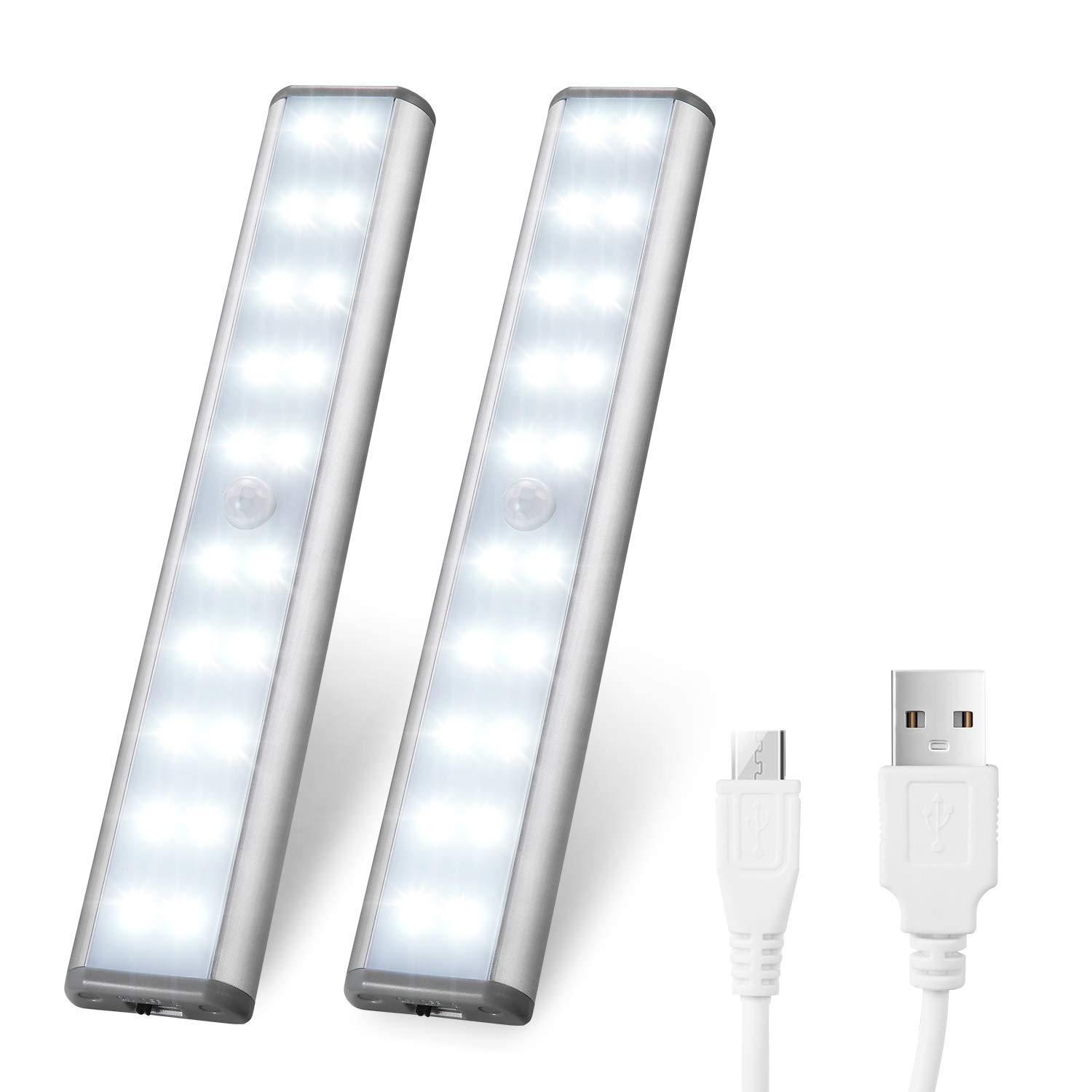 Motion Sensor Cabinet Lights,USB Rechargeable 20 LED Portable Cordless Closet Lighting,Wireless Under Counter Light Bar, Magnetic Removable Stick-On Anywhere for Wardrobe/Cupboard/Stairs (2 Pack)