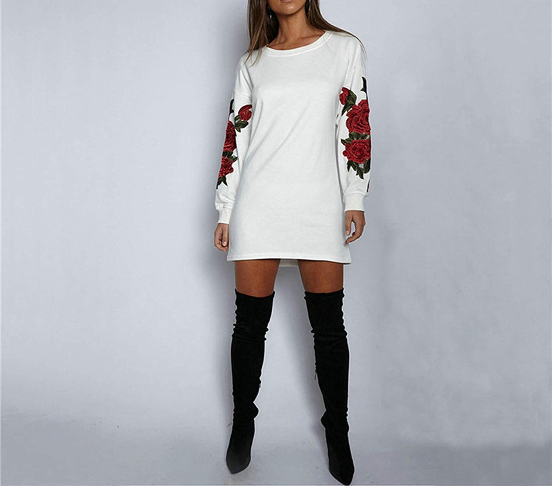 Plus Size Long Sleeve Floral Embroidery Long Women Pullovers Hoodies Sweatshirt Hoodies