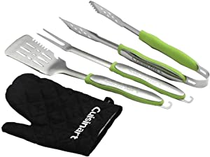 Cuisinart CGS-134G Grilling Tool Set with Grill Glove, Green and Stainless (3-Piece)